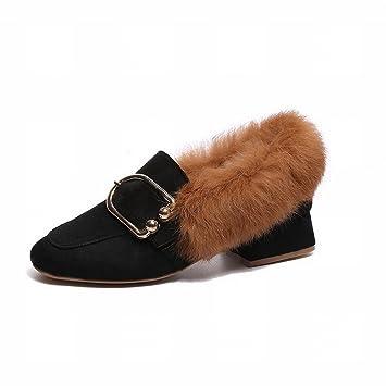f36a840a Zapatos de Cabeza Cuadrada con Cabello Grueso con Todo Tipo de Zapatos de  Lana Todos Coinciden con Los Zapatos de Hebilla de Cinturón , negro ,  EUR37: ...