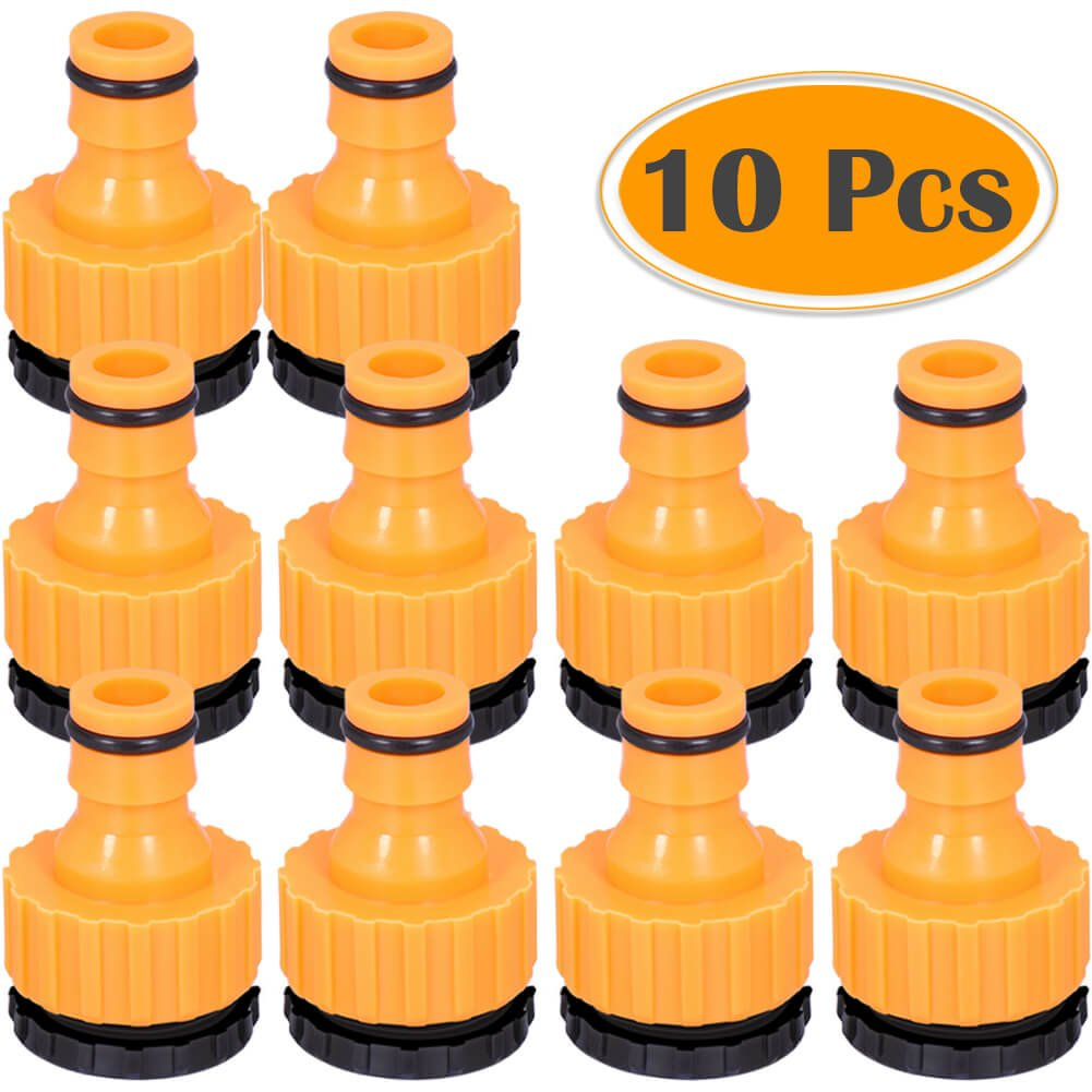 Cerixo 10 Pack Plastic Garden Hose Tap Connector, 1/2 Inch (21mm) and 3/4 Inch (26.5mm) Size 2-in-1