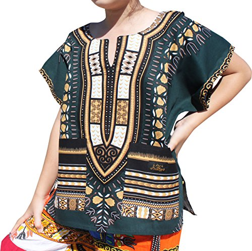 Raan Pah Muang Childrens African Dashiki Short Sleeve Shirt in Colours, 6-8 Years, Green Brown
