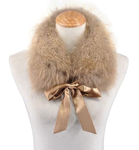 Ferand - Bufanda de Mujer Cuellode Piel de Mapache Realcon Lazo