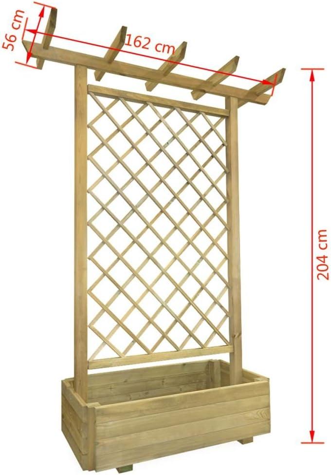 mewmewcat Pflanzkasten mit Spalier aus Holz 162 x 56 204 cm