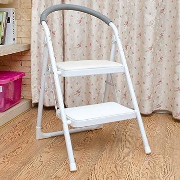 AFDK Escalera con peldaños para interiores con manija, metal rojo 2 para cocina,Blanco: Amazon.es: Bricolaje y herramientas