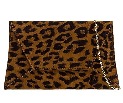 a96a5f0b6aff Leopard Print Envelope Clutch Bag Brown Faux Suede Evening Bag Ladies  Shoulder Bag Handbag: Amazon.co.uk: Shoes & Bags