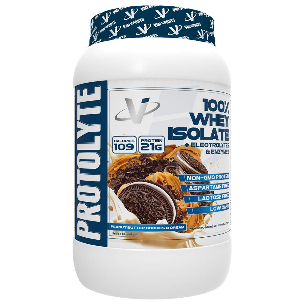 VMI Sports ProtoLyte 100% Whey Isolate Protein Powder, Peanut Butter Cookies & Cream, 1.63lb, with Amino Acids, Electrolytes, Enzymes, High Protein, Sugar Free, Gluten Free, Lactose Free by VMI Sports