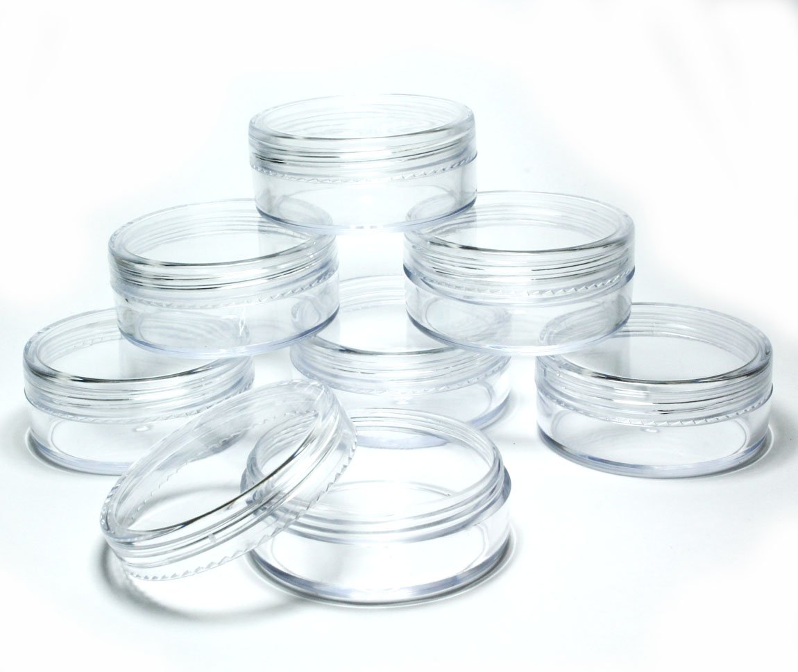 5x 20mL EMPTY PLASTIC JARS POTS w/ CLEAR SCREW LIDS for Powders/NailArt/Glitter/Make Up/Cosmetic/Travel/Creams Lucemill Packaging