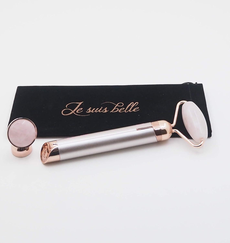 Rose Quartz Vibrating Facial Roller & Massager by Je Suis Belle