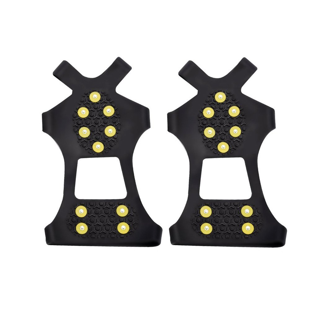 ASIV 1 Pair Traction Cleats for Ice and Snow, Anti-slip Winter Ice Grippers for Shoes Boot, 10 Studs Rubber Crampons for Walking, Hiking, Jogging