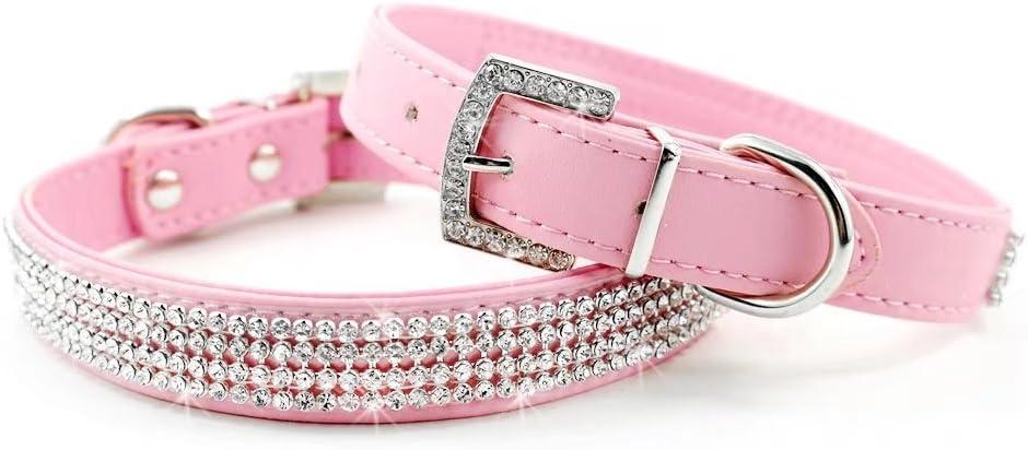 Didog Full Crystal Rhinestones Shing Diamonds PU Leather Dog Pet Collars with Rhinestones Buckle