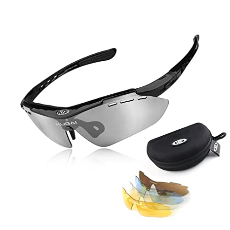 ea9f56912af7 Amazon.com  HKBAYI® Sport Sunglasses Polarized Glasses With 5 Lens Brand  Bikes Bicycle Sun glasses Cycling Sunglass For Man Eyewear With retail Box   Sports ...