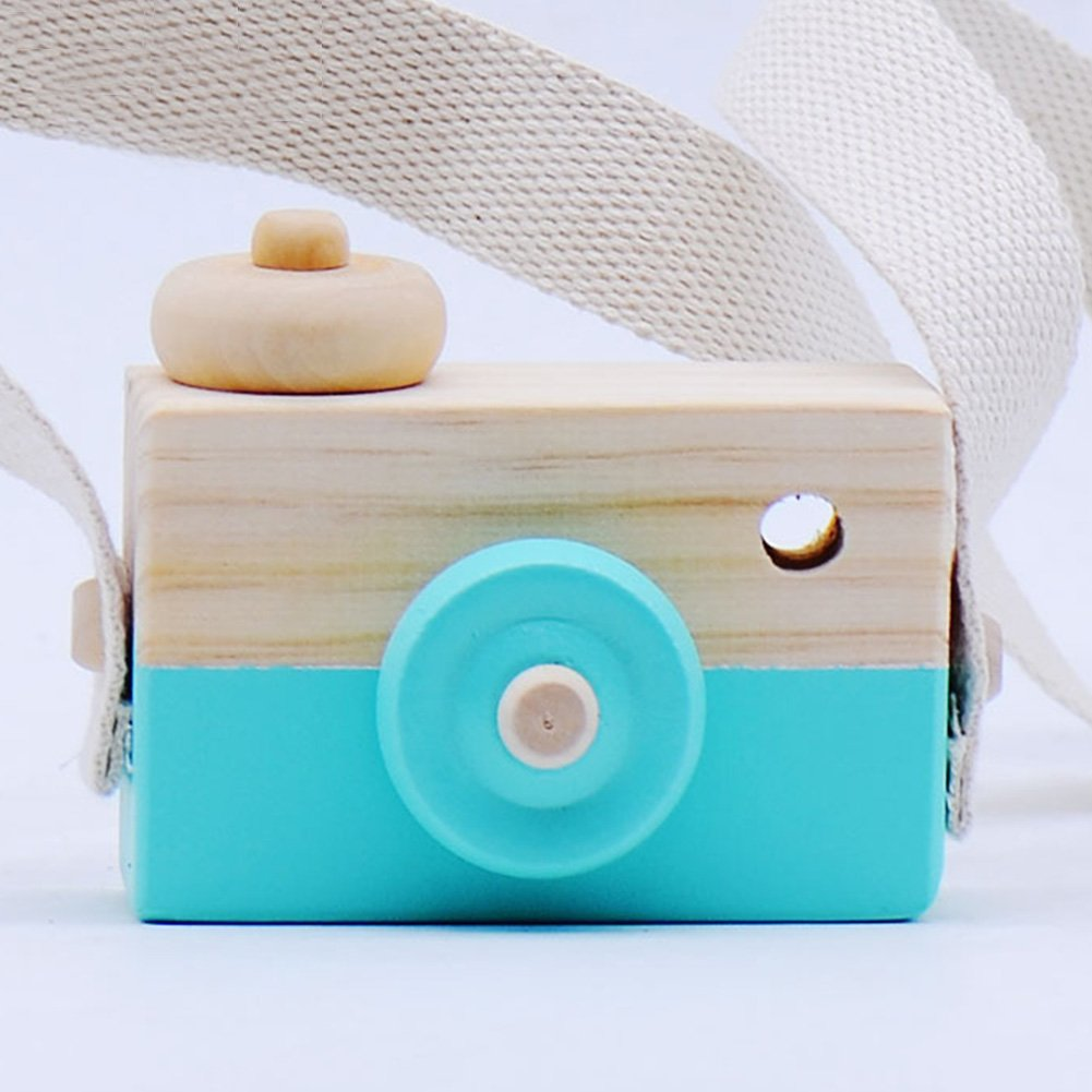 Amyove Children Lovely Wooden Camera Toy with Hanging Rope as Photo Prop Decoration Parent-child communication bridge