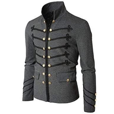 elegantstunning Men Vintage Military Jacket with Embroidered Buttons Solid Color Top Retro Uniform Cardigan gray L