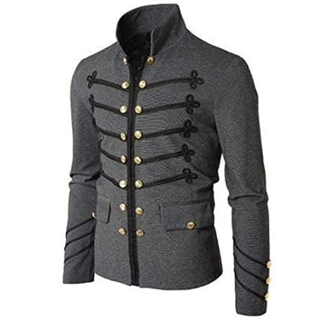 elegantstunning Men Vintage Military Jacket with Embroidered ...