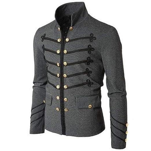 elegantstunning Men Vintage Military Jacket with Embroidered ...