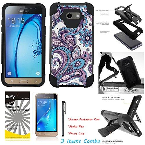 For Samsung Galaxy J7 Prime/ J7 Perx/ J7 Sky Pro/ J7 2017/ J7 V /ITUFFY 3items: LCD Film+Stylus Pen+[Dual Layer] [Impact Resistance] [KickStand] Hybrid Armor Case Paisley Flower - Black