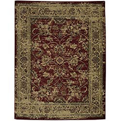"Ottomanson Royal Collection Distressed Oriental Floral Design Area Rug, 7'10"" X 9'10"", Red"
