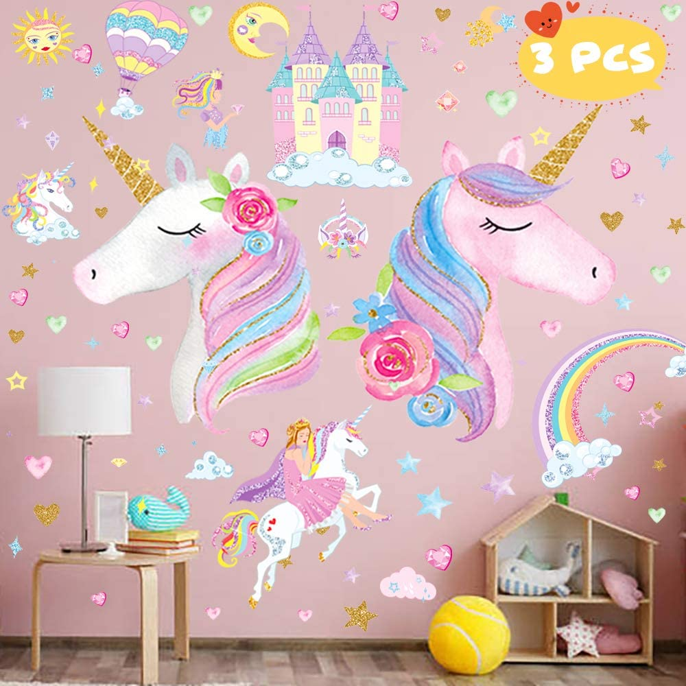 3 Sheets Large Size Upgrade Unicorn Wall Sticker,Unicorn Wall Decals Decor with Rainbow Castle Birthday Christmas Gifts for Boys Girls Kids Bedroom Decor Nursery Room Home Decor