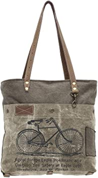 Myra Bags Green Bicycle Upcycled Canvas Tote Bag S-0938