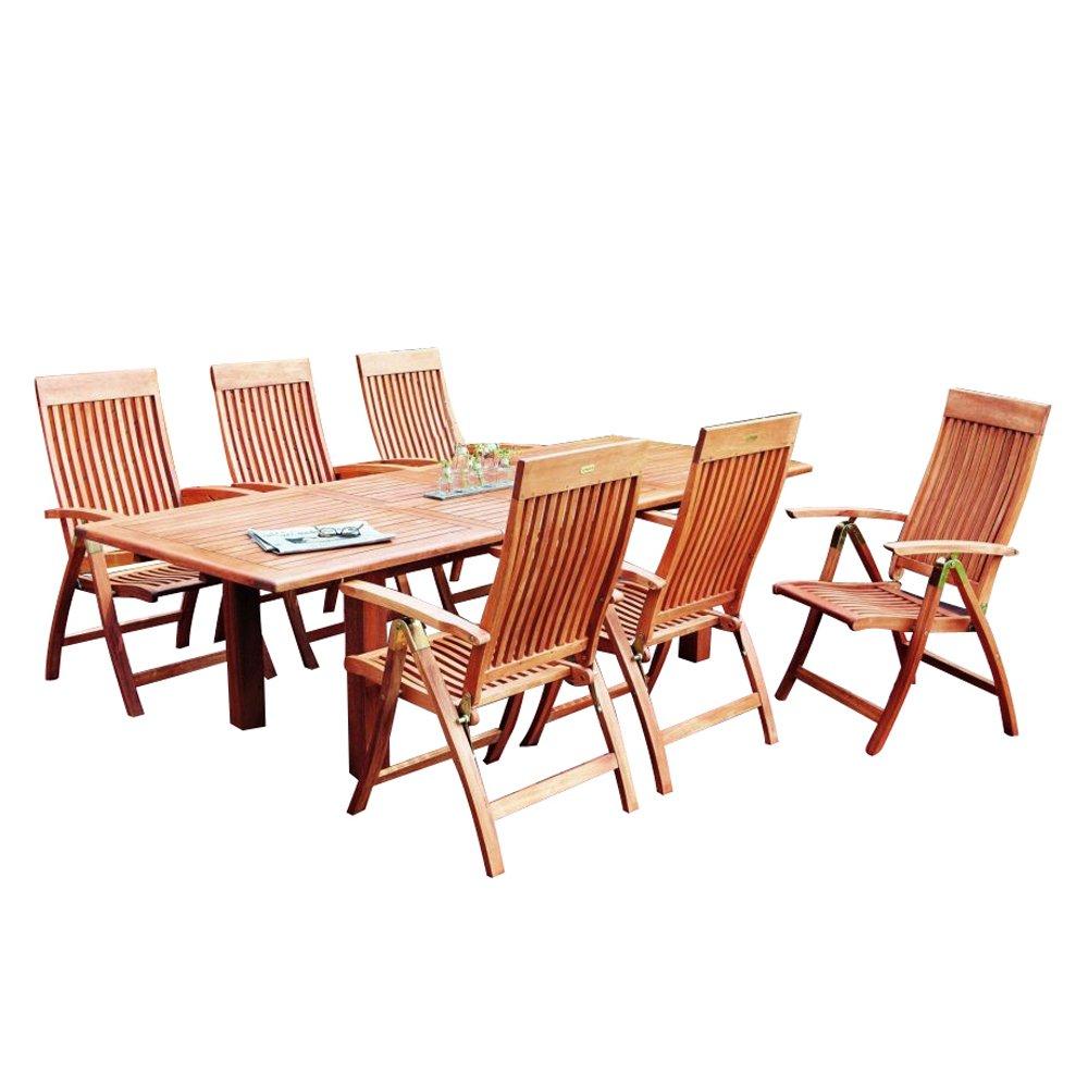 Merxx - Conjunto de muebles de jardín de madera con 6 sillas ...
