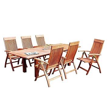 Gartenmöbel set holz  Amazon.de: MERXX Gartenmöbel-Set aus Holz, 6 Klappsessel und ...