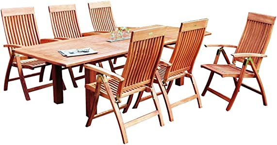 Merxx - Conjunto de muebles de jardín de madera con 6 sillas plegables y mesa extensible: Amazon.es: Jardín