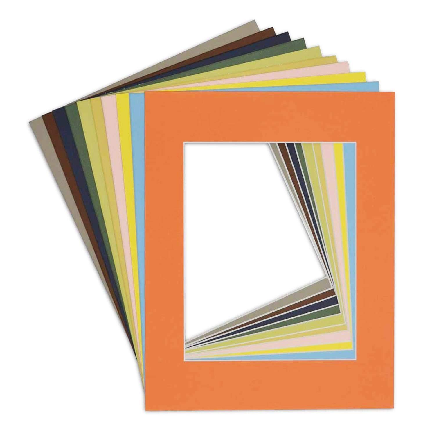 Pack of 10 BROWN 11x14 Picture Mats Matting with White Core Bevel Cut for 8x10 Pictures