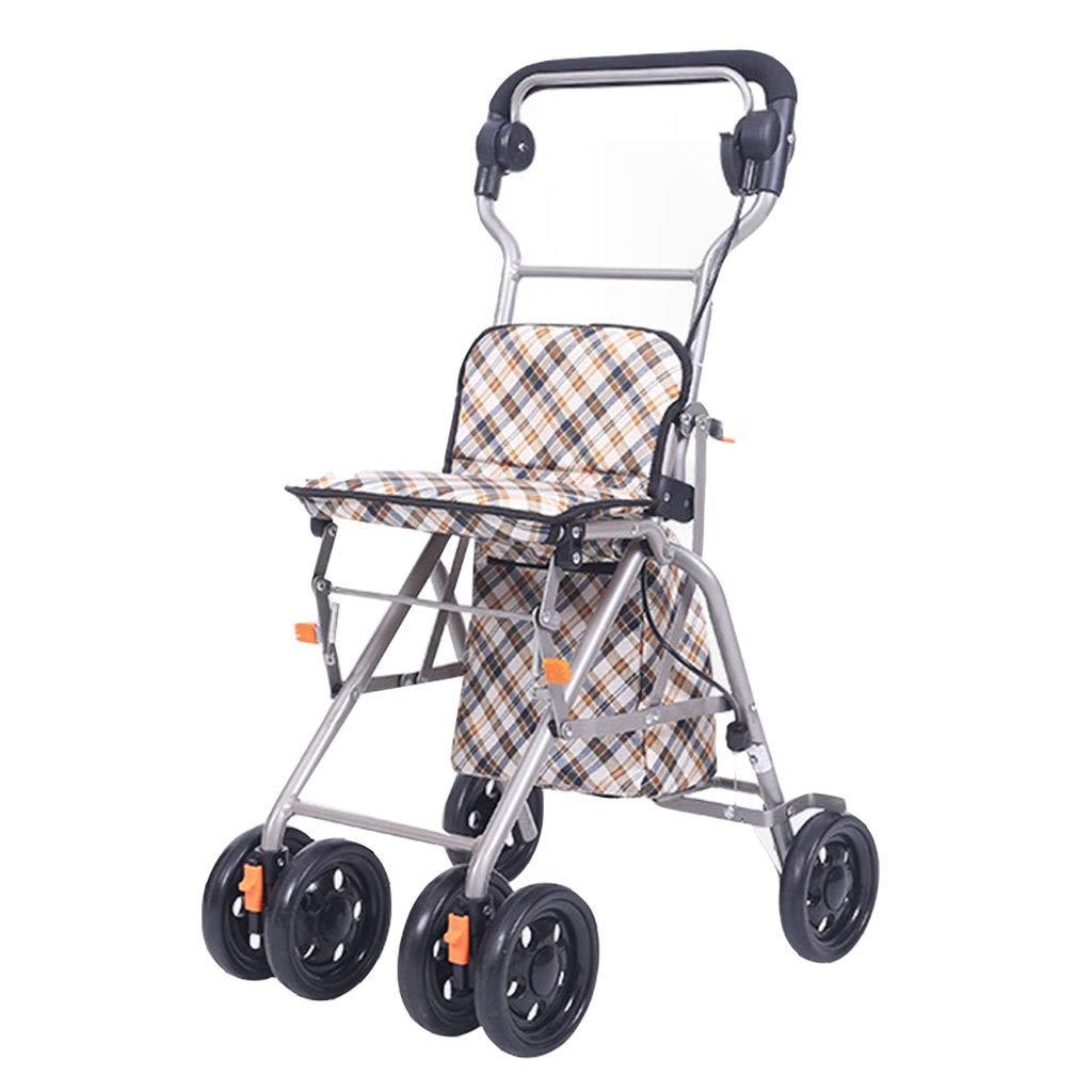 ショッピングキャリー ショッピングカート老人用台車折りたたみ車椅子歩行補助具を買うことができます家庭用食料品買物車四輪車 80キロ収容可能 (Color : Brown, Size : 33*52*85cm) 33*52*85cm Brown B07PV6B1WT