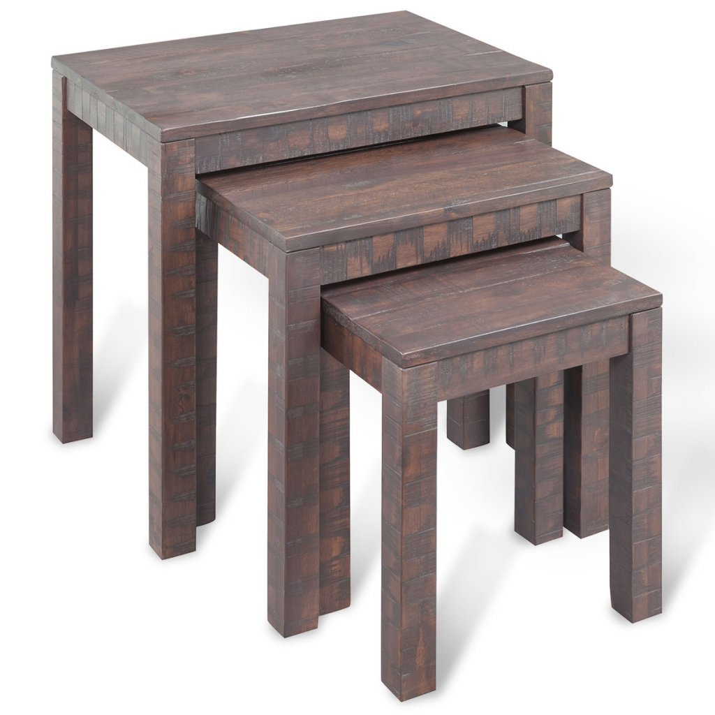 Festnight Solid Acacia Wood Nesting Tables Set of 3 Home Office - Smoke Look