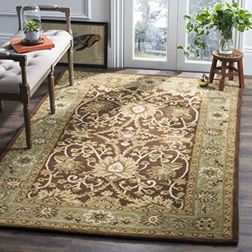 Safavieh Antiquities Collection AT249D Handmade Traditional Oriental Chocolate and Blue Wool Area Rug (5' x 8') ()