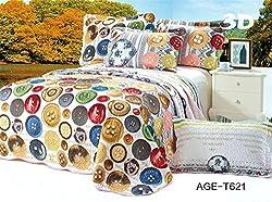 Joybuy 3d Pattern Patchwork Queen Quilt Bedding Unique Bedding Set 3pcs