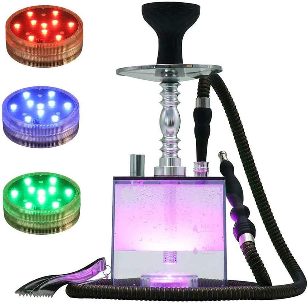 XBR Juego de cachimba portátil, cachimba acrílica, Luces LED de Control Remoto, Juego de cachimba en Forma de Cubo con Cuenco de cerámica, Manguera de Cuero, Pinzas para carbón