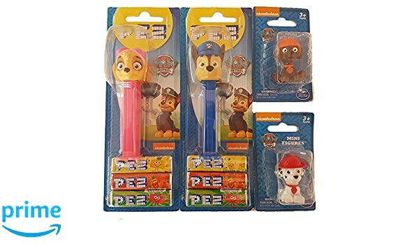 Pack Dispensador Pez Patrulla Canina (Chase, Skye) mas 2 mini figuras patrulla canina (Marshall, Zuma): Amazon.es: Juguetes y juegos