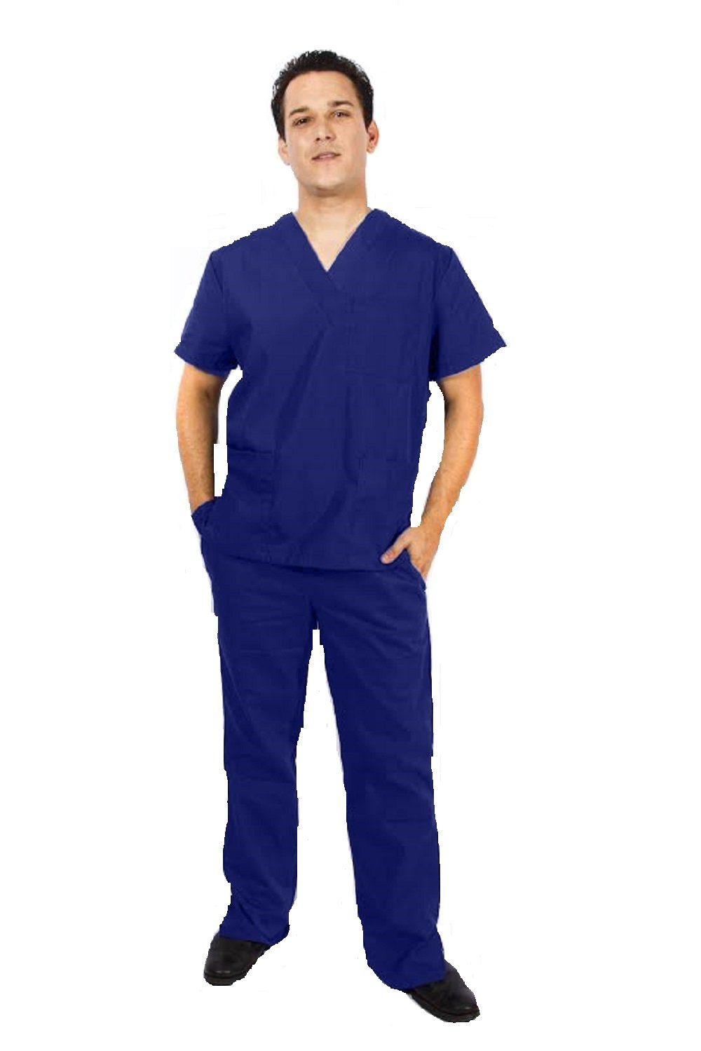 NATURAL UNIFORMS Men's Scrub Set Medical Scrub Top and Pants (XXL, True Navy Blue)