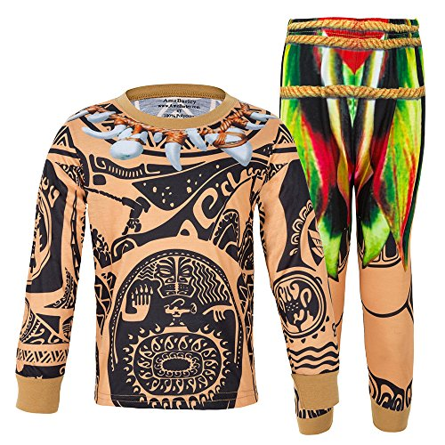 AmzBarley Maui Moana Pajamas for Baby Boys Halloween Costume Outfits Toddler Kids Pjs Sleepwear Age 1-2 Years Size 18M -