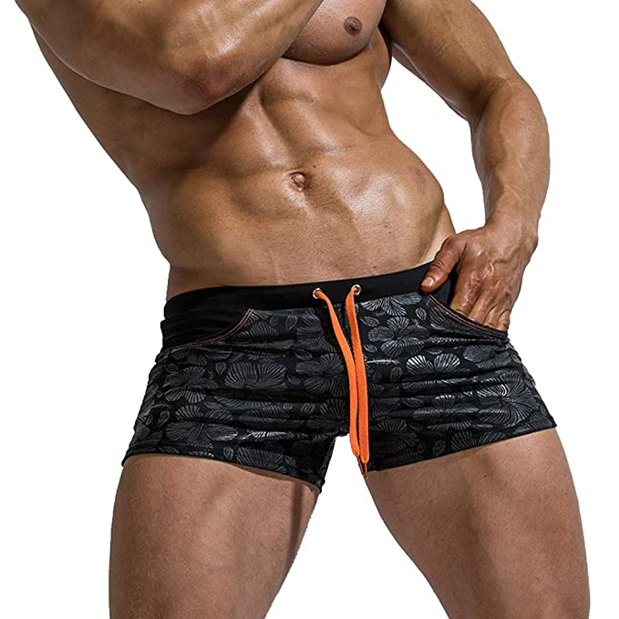 b7d367a655 MIZOK Mens Swimsuit Boxer Brief Swim Trunks Quick Dry Board Shorts with  Adjustable Drawstring (Black