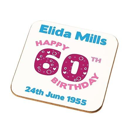 Grans Mums Sisters Grandmas Personalised 60th Birthday Gift Ladies Coaster Add Any