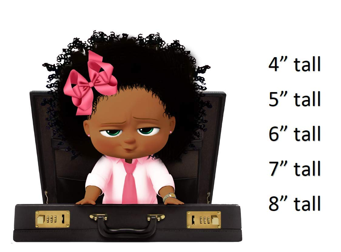 Boss Baby Briefcase Baby Afro Baby African American Boss Baby Girl Cake Topper Edible