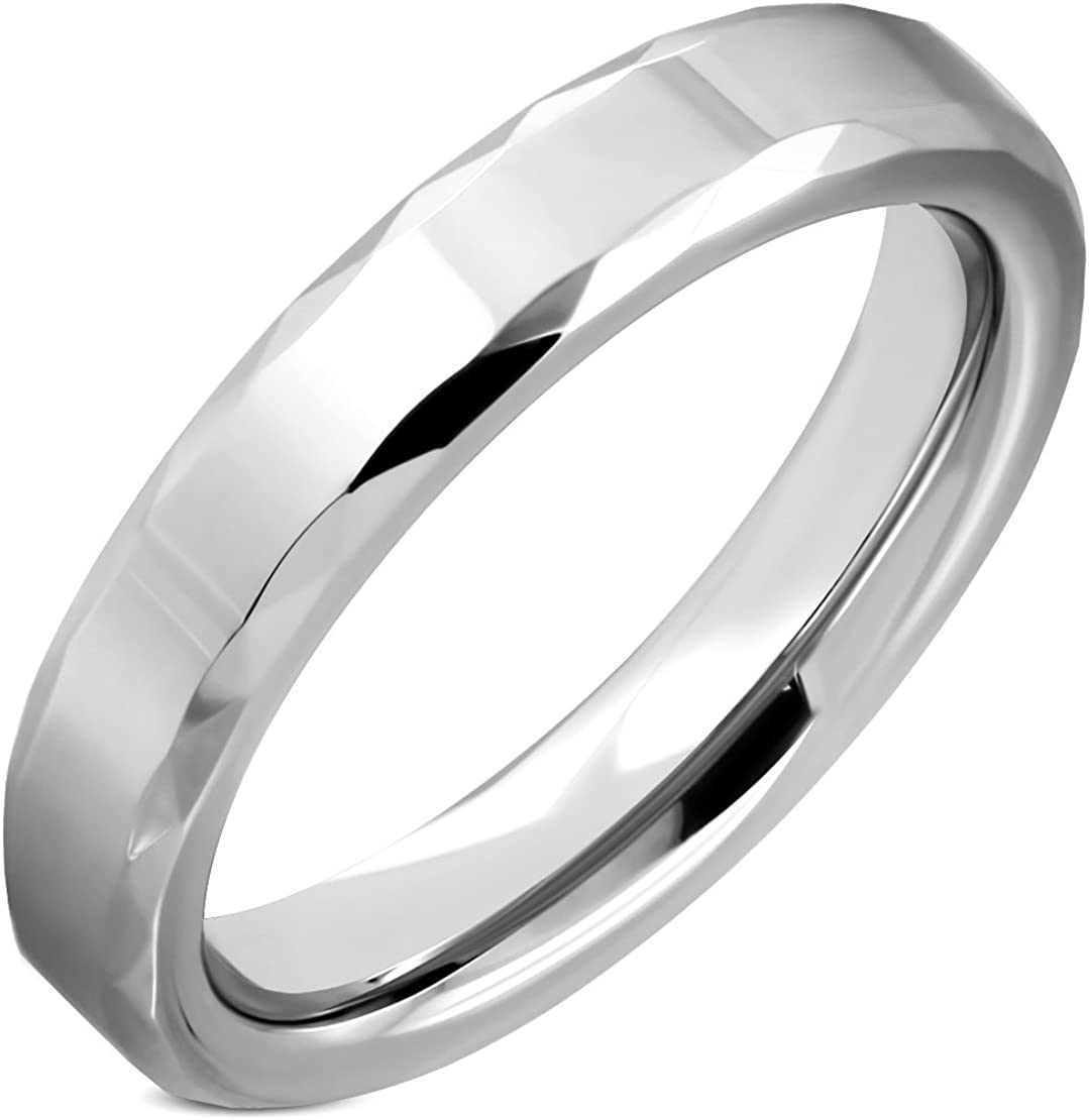Tungsten Carbide Faceted Edge Comfort Fit Half-Round Band Ring