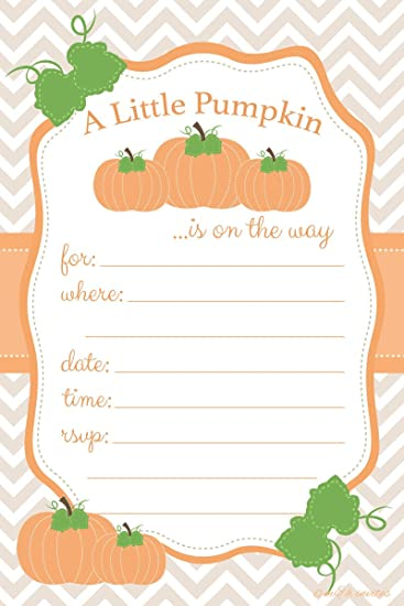 Pumpkin Baby Shower Invitations   Fill In Style (20 Count) With Envelopes