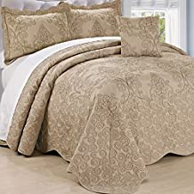 Home Soft Things Serenta Damask 4 Piece Bedspread Set, Queen, Incense