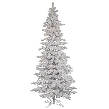 04d3a9b290e0 Image Unavailable. Image not available for. Color: Flocked White Slim Pre-lit  LED Christmas Tree