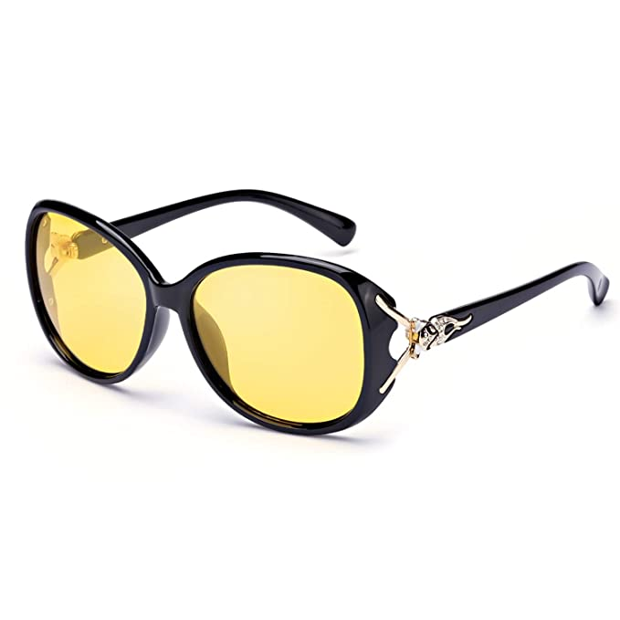 0a04204cd Image Unavailable. Image not available for. Color: FIMILU Night Driving  Glasses for Women,Classic Oversized Frame Yellow Lens Polarized Night  Vision Glasses