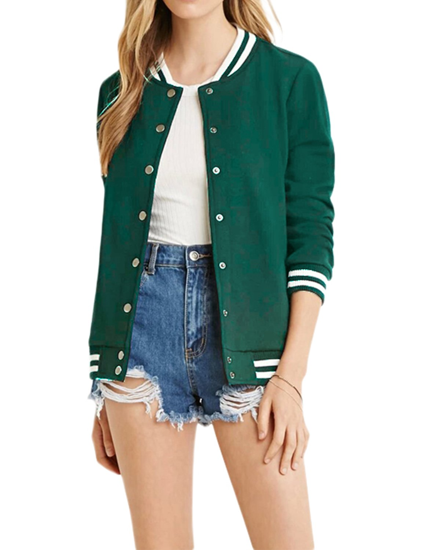 HaoDuoYi Women's Varsity Ribbed Color Block Long Sleeve Baseball Bomber Jacket(XL,Green)