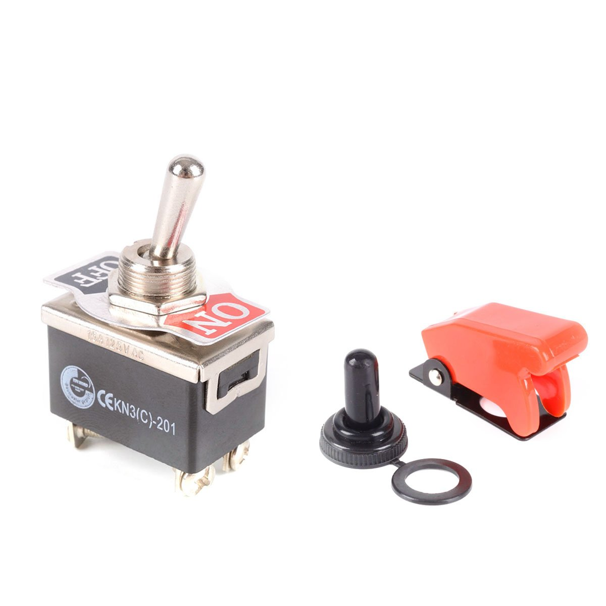 WINOMO Heavy Duty Toggle Switch Flick ON/OFF/ON Car Dash 12V DPDT with Waterproof Cap