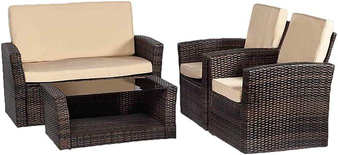 Patio Sofa Set 4pcs Outdoor Furniture Set Pe Rattan Wicker Cushion Outdoor Garden Sofa Furniture With Coffee Table Bistro Sets For Yard Garden Outdoor Amazon Com