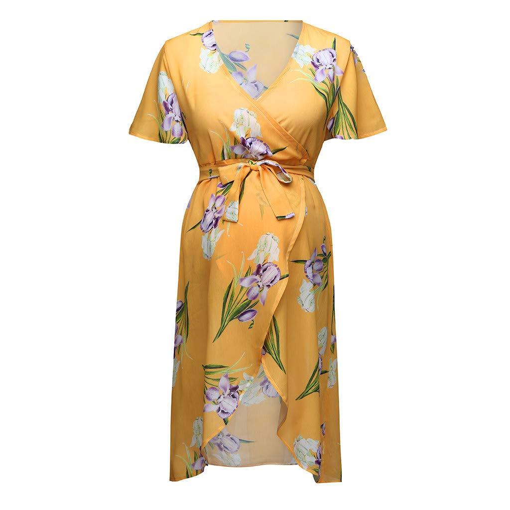 FRana Maternity Dresses for Women Stylish Short Sleeve O-Neck Floral Print Dress Pregnancy Clothes Bodycon