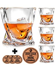 Twist Whiskey Glasses - Set of 4 - by Vaci with 4 Drink Coasters, Crystal Scotch Glass, Malt or Bourbon, Glassware Set