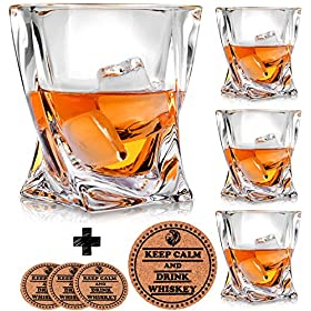 Twist Whiskey Glasses – Set of 4 – by Vaci + 4 Drink Coasters, Ultra Clarity Crystal Scotch Glass, Malt or Bourbon, Glassware Gift Set