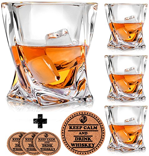 Twist Whiskey Glasses - Set of 4 - by Vaci + 4 Drink Coasters, Ultra Clarity Crystal Scotch Glass, Malt or Bourbon, Glassware Gift - Drink Whiskey Scotch