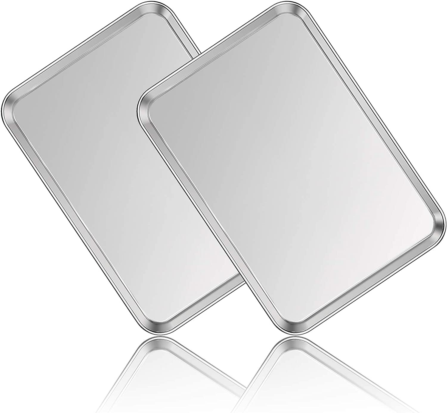 Stainless Steel Baking Sheet Set of 2, Deedro Cookie Sheet Metal Baking Pan Oven Tray, Non Toxic & Heavy Duty, Rust Free & Mirror Finish, Easy Clean & Dishwasher Safe, 20 x 14 x 1.3 Inch