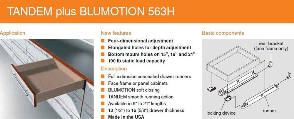 Includes Slides 563H Locking Devices Bundle 12 BLUM TANDEM Drawer Slides with BLUMOTION Screws and Instructions. Rear Mounting Brackets